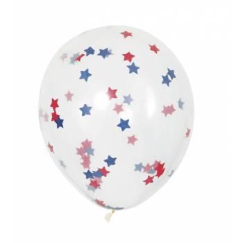 5 Ballons confettis étoiles bleu et rouge