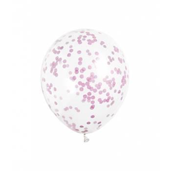 5 Ballons confettis rose