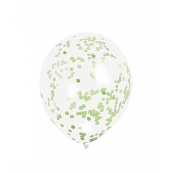 5 Ballons confettis vert lime