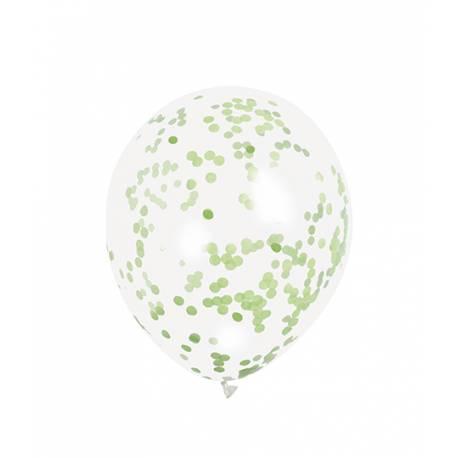 6 Ballons transparent en latex rempli de confettis en papier de couleur vert lime, ces ballons sont ultra tendance !