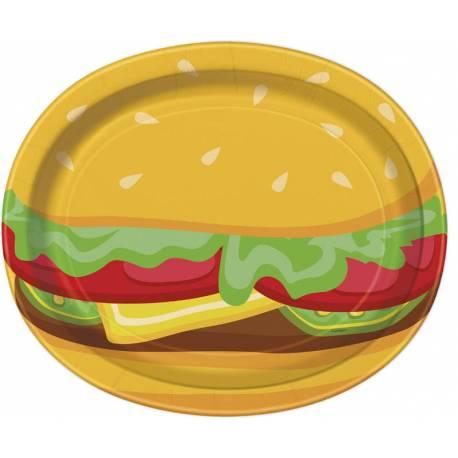 8 grandes assiettes ovales en carton décor burger party pour une décoration de table estivale Dimensions : Ø30cm