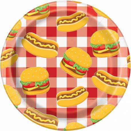 8Assiettes à dessert en carton décor burger party pour la décoration d'une table de pic nic d'été Dimensions: Ø18cm