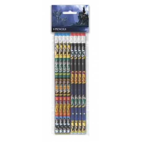 8 Crayons à papier à l'effigie des écussons des différentes maisons de l'école de Poudlard Harry Potter