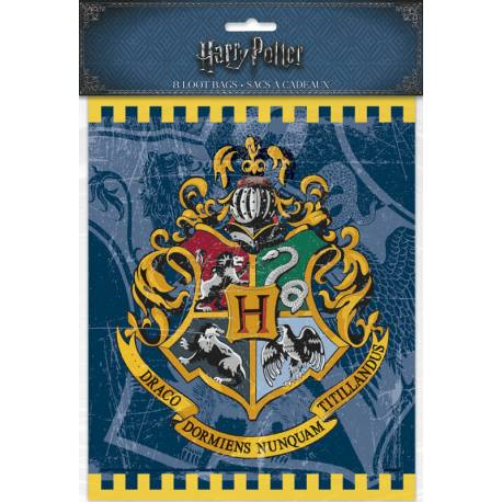 8 Sachets de fête Harry potter à remplir de petits cadeaux pour offrir aux invités Dimensions: 18cm x 13 cm