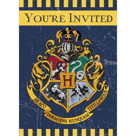 8cartes d'invitations avec enveloppes thème Harry potter
