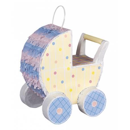 Superbe Pinata en forme de poussette pour une baby shower réussi ! A remplir de bonbons et petits cadeaux et à frapper avec un baton...
