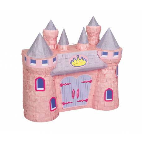 Superbe Pinata en forme de château pour un anniversaire de princesse réussi A remplir de bonbons et petits cadeaux et à frapper avec un...