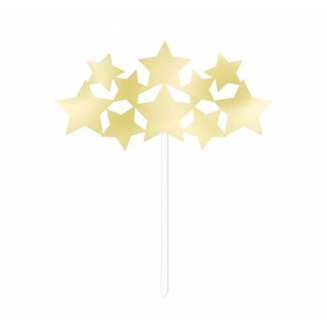 Pic décor d'étoile or pour décorer vos gâteaux