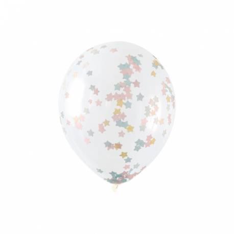 6 Ballons transparent en latex rempli de confettis étoiles en papier de couleur pastel, ces ballons sont ultra tendance !