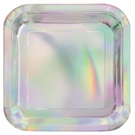 8 Assiettes en carton couleur métallisé irisé pour une table ultra tendance Dimensions : Ø23cm