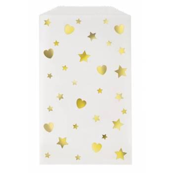 8 pochettes cadeaux irisé coeur étoiles
