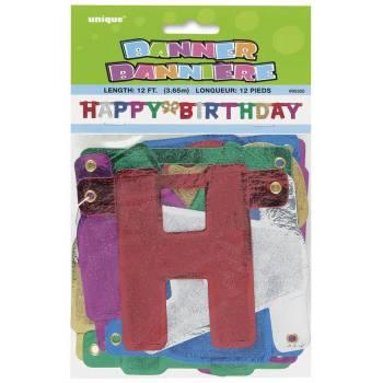 Banderole Happy birthday multicolore glitter