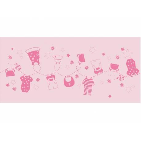 Chemin de table jetable Bébé fashion rose pour la décoration de vos tables de fête et anniversaire à thème. Dimensions : 5 Mètres x 30 cm