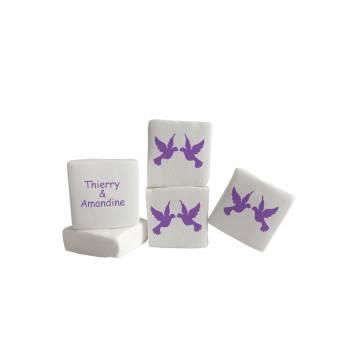 Guimize personnalisé texte décor colombes violettes
