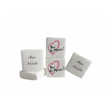 Guimize personnalisé texte décor Vive les mariés rose