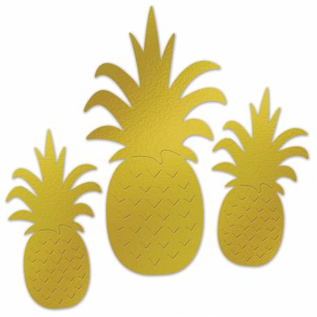 3 décors ananas or