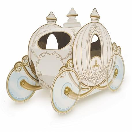 Superbe décor central en forme de carosse idéal pour la décoration de votre table d'anniversaire de Princesse Matière: en carton à...