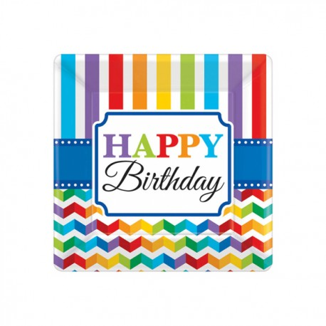 8Assiettes dessert en carton thème Happy Birthday Color flash Dimensions : 18 cm x 18 cm Parfait pour la deco de votre fête ou...