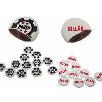 Palets choc' personnalisés décor Jeton poker