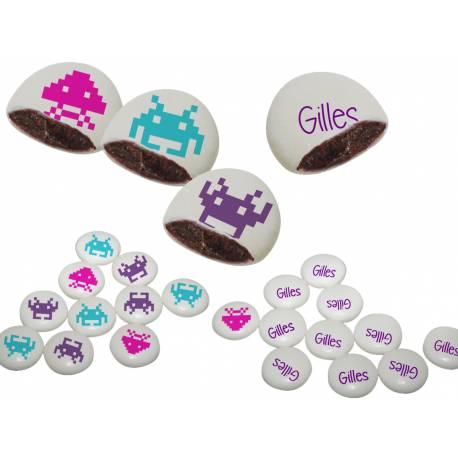 Les Palets Choc'sont de delicieuses confiseries dragéifiées fourrées au chocolat 55% cacao Personnalisez vos fêtes avec nosPalets...