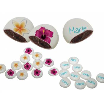 Palets choc' personnalisés décor fleurs des îles