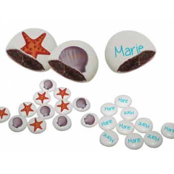 Palets choc' personnalisés décor coquillages