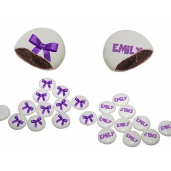 Palets choc' personnalisés décor Noeud violet
