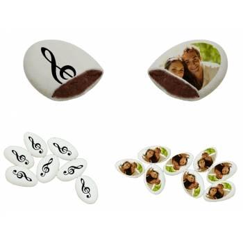 110 Dragées chocolat personnalisés décor musique photo