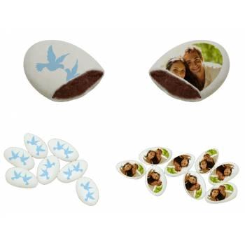 110 Dragées chocolat personnalisés décor colombe bleu photo
