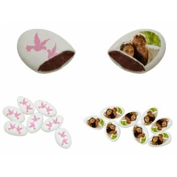 110 Dragées chocolat personnalisés décor colombe rose photo