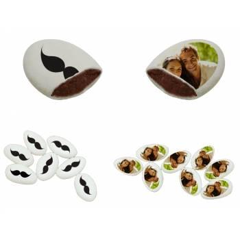 110 Dragées chocolat personnalisés décor moustache photo