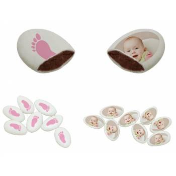 110 Dragées chocolat personnalisés décor peton rose photo