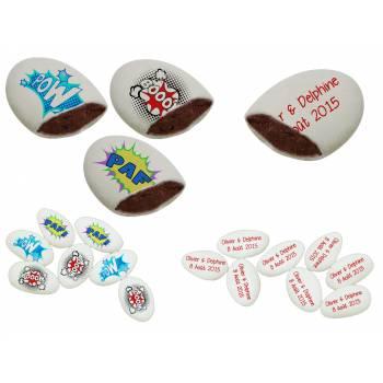 110 Dragées chocolat personnalisés décor heros texte