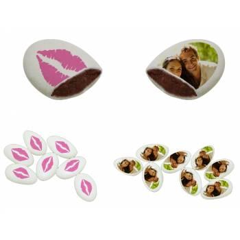110 Dragées chocolat personnalisés décor bisous photo