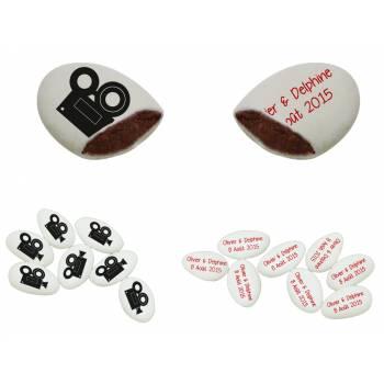110 Dragées chocolat personnalisés décor camera texte