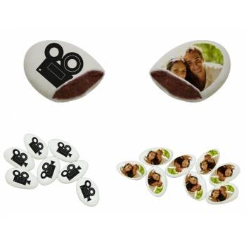110 Dragées chocolat personnalisés décor caméra photo