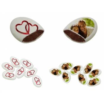 110 Dragées chocolat personnalisés décor coeurs croisés photo