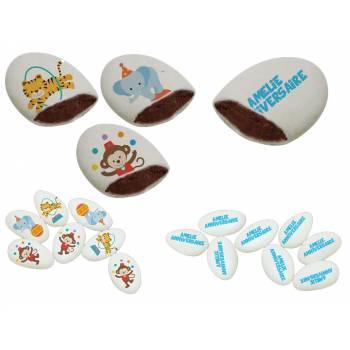 110 Dragées chocolat personnalisés Animaux du cirque texte