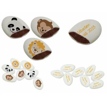 110 Dragées chocolat personnalisés Animaux de la jungle texte