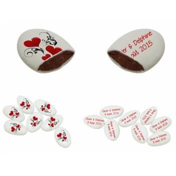 110 Dragées chocolat personnalisés Coeurs ornement texte