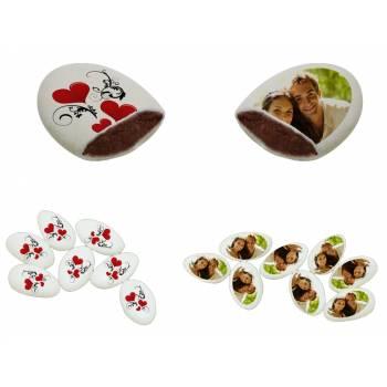 110 Dragées chocolat à personnaliser Coeurs ornement photo