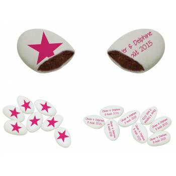 110 Dragées chocolat personnalisés Star texte