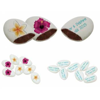110 Dragées chocolat personnalisés Fleurs des îles texte