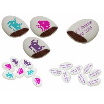 110 Dragées chocolat personnalisés Games texte