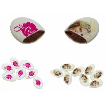 110 Dragées chocolat à personnaliser décor Je t'aime photo