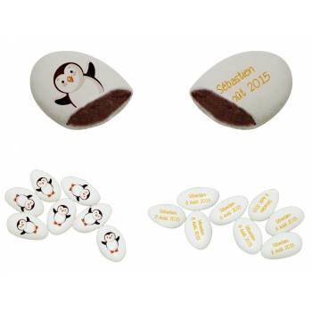 110 Dragées chocolat personnalisés décor pingouin texte