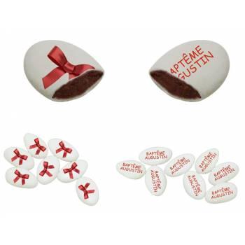 110 Dragées chocolat personnalisés décor Noeud rouge texte