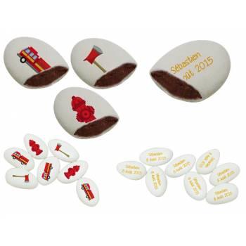 110 Dragées chocolat personnalisés décor Pompiers texte