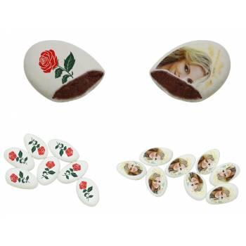 110 Dragées chocolat à personnaliser décor Roses rouges photo