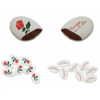 110 Dragées chocolat personnalisés décor Roses rouge texte